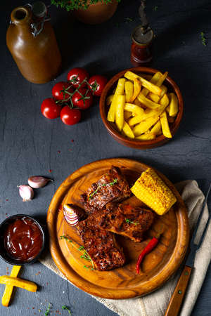 tender spare ribs from the grill Foto de archivo
