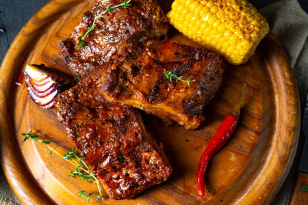 tender spare ribs from the grill Stock Photo