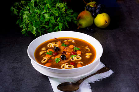 Czerninaa with noodles is a traditional Polish soup Banque d'images
