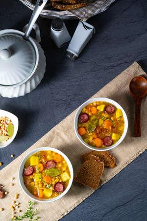 Hearty pea soup after grandmas recipe