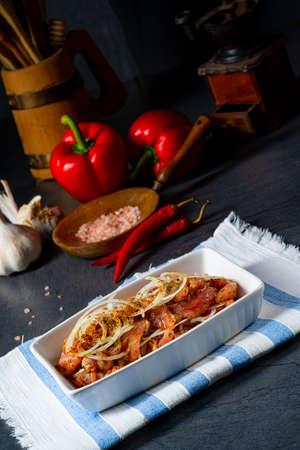 Freshly seasoned Greek gyros meat Stock fotó - 155451318