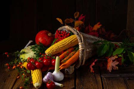 The beautiful autumnal cornucopia with vegetables