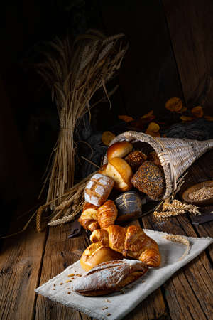Fresh rolls in a cornucopia
