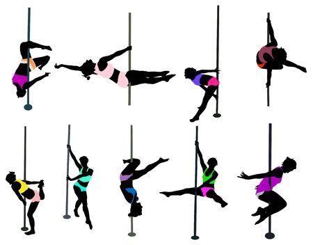 bailarines silueta: chica bailando alrededor del poste