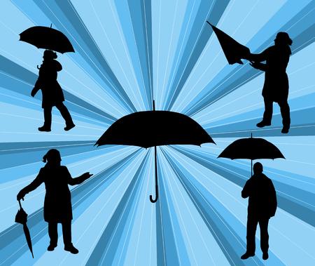 umbrela: people with umbrela vector silhouette