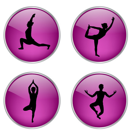 yoga buttons vector silhouette