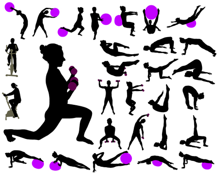 exercise collection vector silhouettes Illustration
