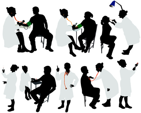 doctor care: doctor and patient vector silhouette