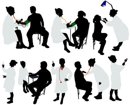 medico: médico y paciente silueta del vector