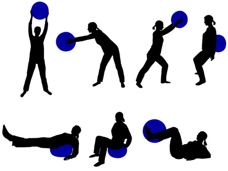 pilates ball: pilates vector silhouette Illustration