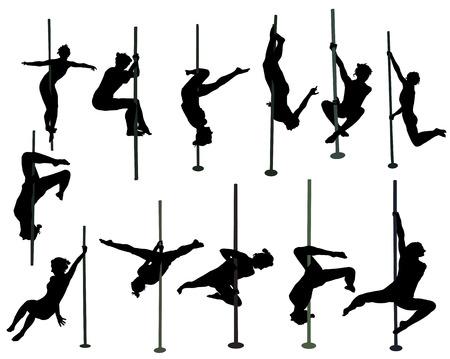 girl dancing around the pole Ilustração