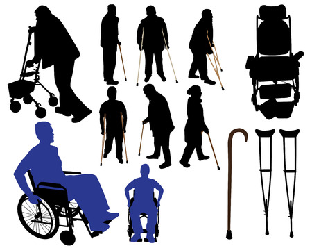 old person: crutches canes wheelchair Illustration