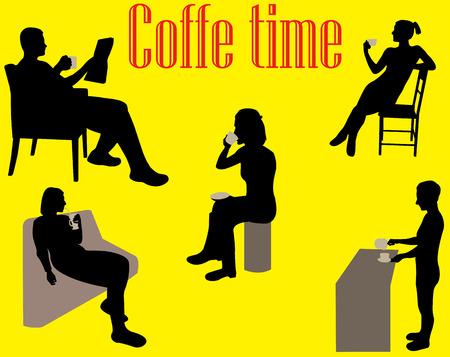 hangout: people drinking coffee Illustration