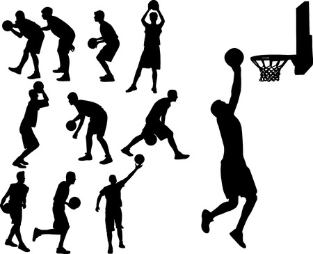 center court: basketball players Illustration