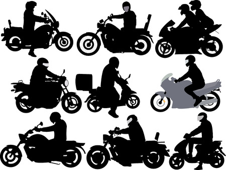 silueta ciclista: motociclistas