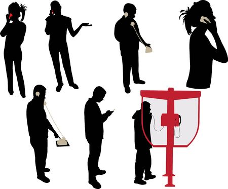 telephone booth: people making a phone call Illustration