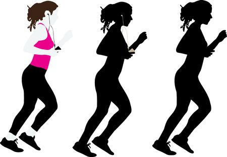 girl jogging Ilustração