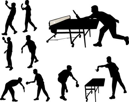 pingpong: mesa de jugadores de tenis silueta