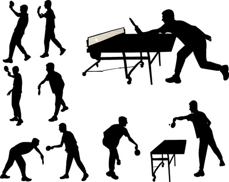 table tennis players silhouette