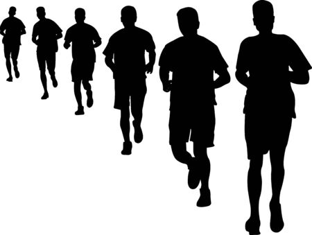 people running 2 vector silhouette