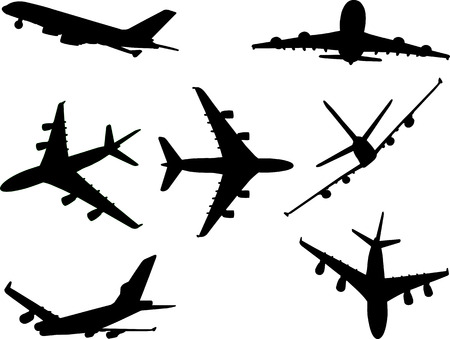 airplanes 2 vector silhouette