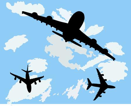 airplanes in the sky vector silhouette Ilustração