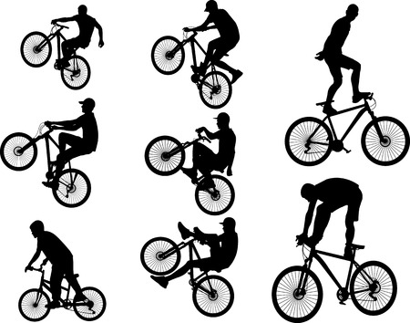 bicycle stunts 5 vector silhouette