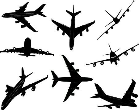 airplanes bw 2 vector silhouette Ilustração