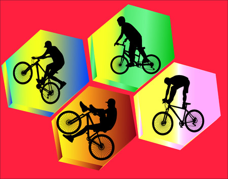 bicycle stunts with background vector silhouette