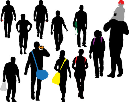 young worker: people walking vector silhouette