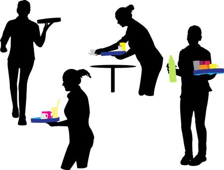 waitress vector silhouette Ilustração