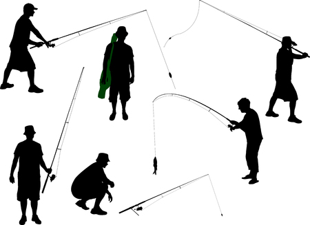 recreational fishermen: fisherman vector silhouette Illustration