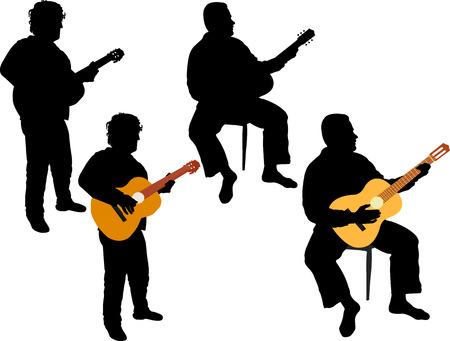 two men: two men playing acoustic guitar