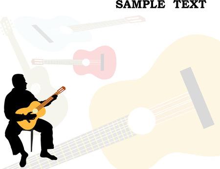 man playing acoustic guitar Ilustração