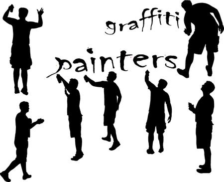 grafitis: pintores de graffiti 3 silueta del vector