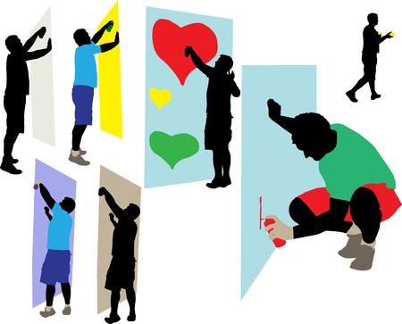 cartoon bomb: graffiti painters 2 vector silhouette