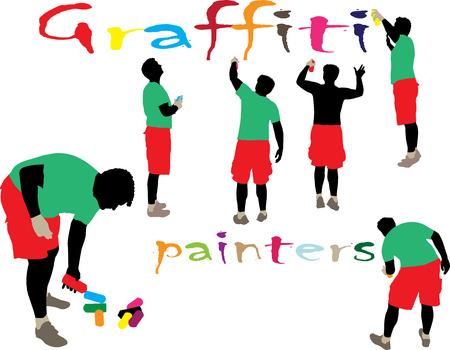 criminal: graffiti painters 1 vector silhouette Illustration