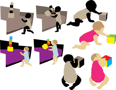 baby playing with cube vector silhouette