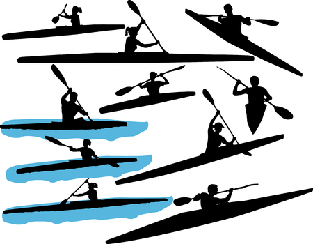 sports vector: kayaking vector silhouette