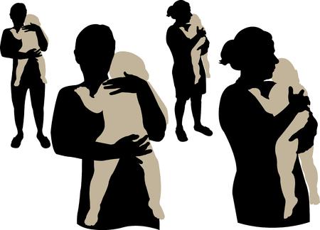 silueta niño: mamá sosteniendo un vector bebé dormilón Vectores