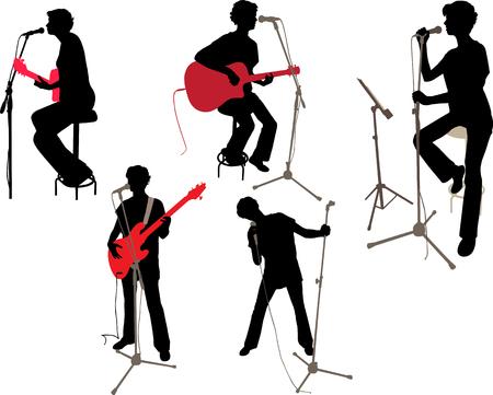 girl on a concert vector silhouette Ilustração