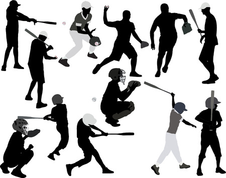 baseball pitcher: baseball players vector silhouette Illustration