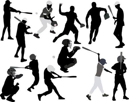 campo de beisbol: jugadores de béisbol vector silueta Vectores