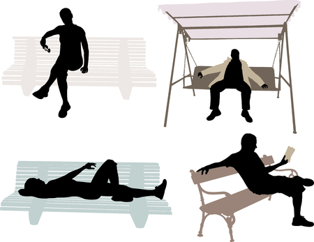 lie down: people seating on the bench
