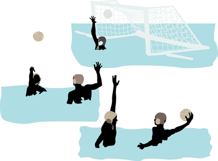 ball on water: water polo players vector
