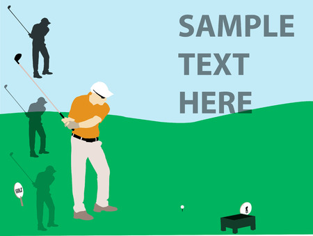 caddy: golf player flyer vector silhouette Illustration
