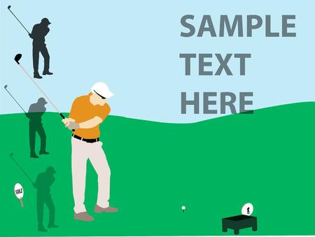 golf player flyer vector silhouette Ilustração