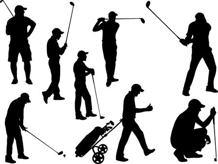 hombre con sombrero: los jugadores de golf colección de la silueta del vector
