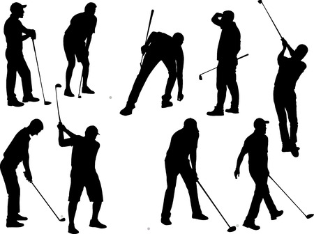 les joueurs de golf 2 vecteur silhouette Vecteurs