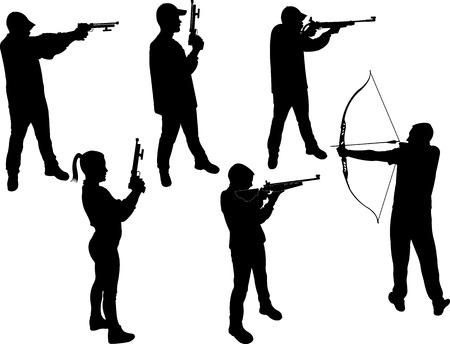 marksman vector silhouette Ilustração